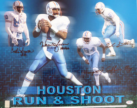"Houston Oilers Run & Shoot Autographed 16x20 Photo ""HOF 06"" With 4 Signatures Including Warren Moon PSA/DNA Stock #185953"