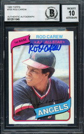 Rod Carew Autographed 1980 Topps Card #700 California Angels Signed Top Auto Grade 10 Beckett BAS Stock #186034