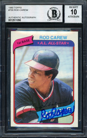 Rod Carew Autographed 1980 Topps Card #700 California Angels Signed Bottom Auto Grade 10 Beckett BAS Stock #186035