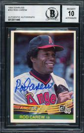Rod Carew Autographed 1984 Donruss Card #352 California Angels Auto Grade 10 Beckett BAS Stock #186071