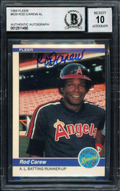 Rod Carew Autographed 1984 Fleer Card #629 California Angels Signed Top Auto Grade 10 Beckett BAS Stock #186074
