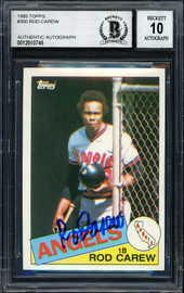 Rod Carew Autographed 1985 Topps Card #300 California Angels Auto Grade 10 Beckett BAS Stock #186103