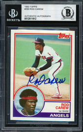 Rod Carew Autographed 1983 Topps Card #200 California Angels Beckett BAS #12511912