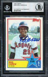 Rod Carew Autographed 1983 Topps All Star Card #386 California Angels Beckett BAS #12511915