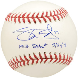 "Shane Bieber Autographed Official MLB Baseball Cleveland Indians ""MLB Debut 5/31/18"" Beckett BAS #WE05082"