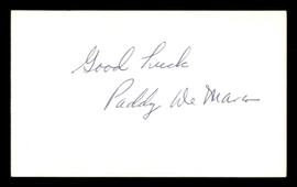 "Paddy DeMarco Autographed 3x5 Index Card ""Good Luck"" SKU #186882"