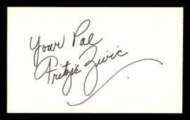 "Fritzie Civic Autographed 3x5 Index Card ""Your Pal"" SKU #186894"