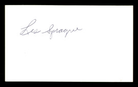 Les Sprague Autographed 3x5 Index Card SKU #186896