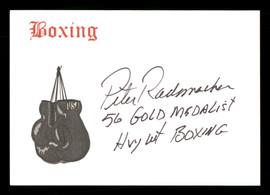 "Pete Rademacher Autographed 4x5 Card ""56 Gold Medalist Hvywt Boxing"" SKU #186903"