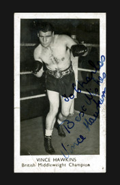 "Vince Hawkins Autographed 1.75x3 British Boxing Card ""To Charles"" SKU #186907"