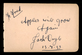"Jack Doyle Autographed 3x5 Album Page ""To Fred"" Vintage Signature SKU #186908"