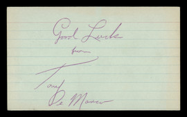 "Tony DeMarco Autographed 3x5 Index Card ""Good Luck"" SKU #186916"