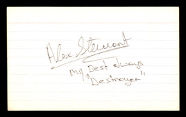 "Alex Stewart Autographed 3x5 Index Card """"Destroyer"""" SKU #186917"