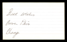 "Aaron Davis Autographed 3x5 Index Card ""Best Wishes"" SKU #186918"