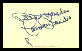 "Carmen Basilio Autographed 3x5 Index Card ""Best Wishes"" SKU #186948"