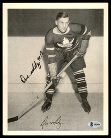 Don Metz Autographed 1945-54 Quaker Oats 8x10 Photo Toronto Maple Leafs Beckett BAS #Y92490
