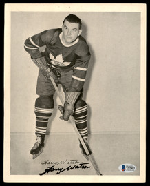 Harry Watson Autographed 1945-54 Quaker Oats 8x10 Photo Toronto Maple Leafs Beckett BAS #Y92492