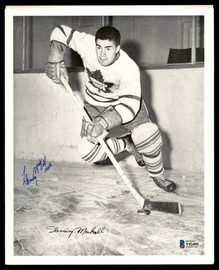Fleming Mackell Autographed 1945-54 Quaker Oats 8x10 Photo Toronto Maple Leafs Beckett BAS #Y92495