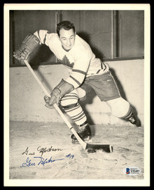 Gus Mortson Autographed 1945-54 Quaker Oats 8x10 Photo Toronto Maple Leafs Beckett BAS #Y92497