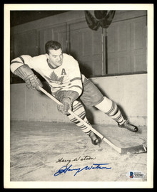 Harry Watson Autographed 1945-54 Quaker Oats 8x10 Photo Toronto Maple Leafs Beckett BAS #Y92502