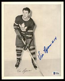 Vic Lynn Autographed 1945-54 Quaker Oats 8x10 Photo Toronto Maple Leafs Beckett BAS #Y92503