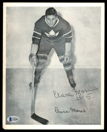 Elwin Morris Autographed 1945-54 Quaker Oats 8x10 Photo Toronto Maple Leafs Beckett BAS #Y92507