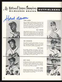 1957 Milwaukee Braves Autographed World Series Program With 5 Signatures Incl. Hank Aaron & Warren Spahn Beckett BAS #AA00297