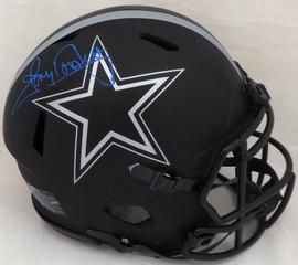Tony Dorsett Autographed Dallas Cowboys Eclipse Black Full Size Speed Authentic Helmet (Smear) Beckett BAS #WE12149