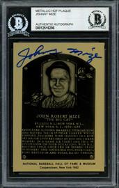 Johnny Mize Autographed 1982 Metallic HOF Plaque Card New York Giants Beckett BAS #12516206