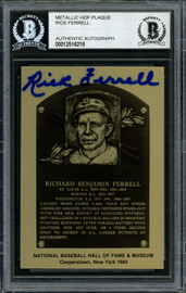 Rick Ferrell Autographed 1984 Metallic HOF Plaque Card Boston Red Sox Beckett BAS #12516218