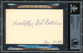 "Christopher ""Bat"" Battalino Autographed 3x5 Index Card Featherweight Champ Beckett BAS #12516820"