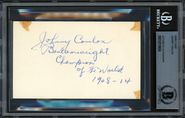 Johnny Coulon Autographed 3x5 Index Card Bantamweight Champion Beckett BAS #12516824