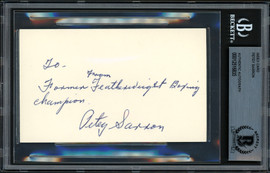 Petey Sarron Autographed 3x5 Index Card Featherweight Champ Beckett BAS #12516835