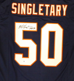 "Chicago Bears Mike Singletary Autographed Blue Jersey ""HOF 98"" Beckett BAS Stock #187476"