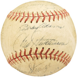 1950-1960's Minor League Players Autographed League Baseball With 19 Signatures Incl. Fred Hutchinson Beckett BAS #AA00352
