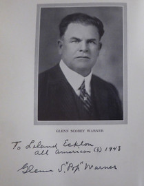 """Glenn """"Pop"""" Warner Autographed 1927 1st Edition Football for Coaches & Players Book Stanford """"To Leland"""" Beckett BAS #AA0354"""