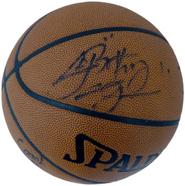 """2002-03 St. Vincent-St. Mary Fighting Irish Multi Signed Autographed Basketball With 8 Total Signatures Including LeBron """"King"""" James High School Signature PSA/DNA #AI01382"""