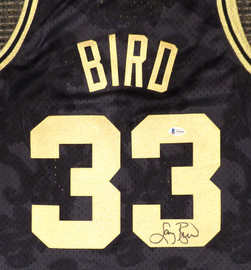 Boston Celtics Larry Bird Autographed Black Mitchell & Ness Gold Toile Swingman Jersey Size L Beckett BAS #Y92564