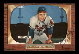 Jack Dittmer Autographed 1955 Bowman Card #212 Milwaukee Braves SKU #187809