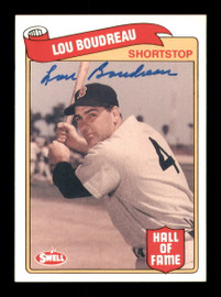 Lou Boudreau Autographed 1989 Swell Baseball Greats Card #80 Boston Red Sox SKU #189069