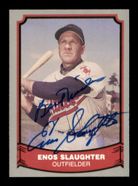 """Enos Slaughter Autographed 1988 Pacific Card #84 St. Louis Cardinals """"Best Wishes"""" SKU #189128"""