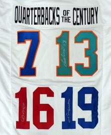 Quarterbacks Of The Century Autographed Jersey Unitas, Marino & Montana Beckett BAS #AA00353