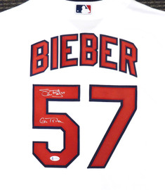"Cleveland Indians Shane Bieber Autographed White Majestic Cool Base Jersey Size L ""Go Tribe"" Beckett BAS Stock #187723"
