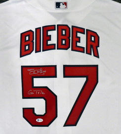 "Cleveland Indians Shane Bieber Autographed White Majestic Cool Base Jersey Size XL ""Go Tribe"" Beckett BAS Stock #187724"