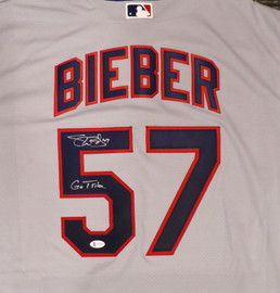 "Cleveland Indians Shane Bieber Autographed Gray Nike Jersey Size XL ""Go Tribe"" Beckett BAS Stock #187725"
