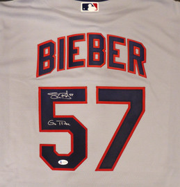 "Cleveland Indians Shane Bieber Autographed Gray Nike Jersey Size L ""Go Tribe"" Beckett BAS Stock #187726"