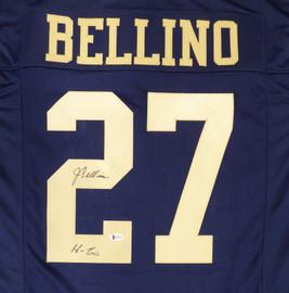 "Navy Midshipmen Joe Bellino Autographed Blue Jersey ""H-60"" Beckett BAS Stock #187730"