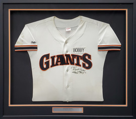 """San Francisco Giants Willie Mays Autographed Framed White Rawlings Jersey Size 40 """"Best Wishes"""" Beckett BAS #A53859"""
