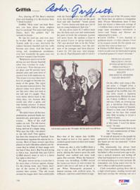 Calvin Griffith Autographed Magazine Page Photo Washington Senators PSA/DNA #S39061