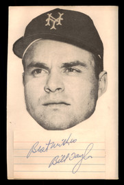 """Bill Taylor Autographed 4x6 Cut Signature New York Giants """"Best Wishes"""" SKU #189586"""